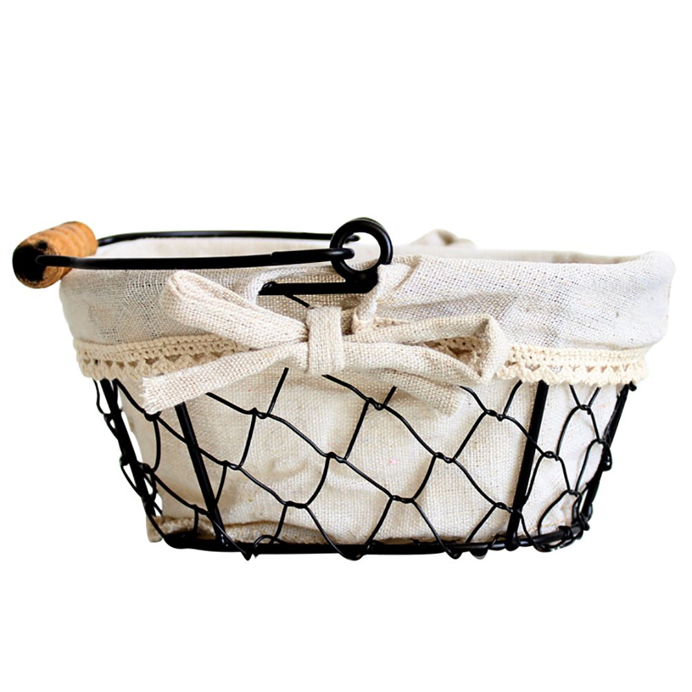 Indoor Iron Baskets Desktop Clutter Storage Basket Fruit Vegetable Browl Outdoor Picnic Storage Basket with White Cotton Lining & Handle iBaste
