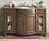 52 Inch Chestnut Brown Vanity Bathroom Cabinet, Single Ceramic Sink, Faux...