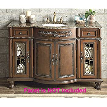 Silkroad exclusive baltic brown granite top - 52 inch bathroom vanity double sink ...