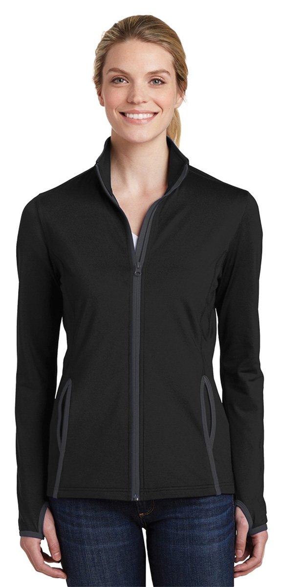 Sport-Tek Women's Sport-Wick Stretch Contrast Full-Zip Jacket LST853 Black/Charcoal Grey 3XL