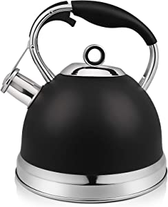 RETTBERG Tea Kettle for Stove Top,2-Quart Food Grade Stainless Steel Whistling TeaPot With Anti-hot silicone handle (Black)