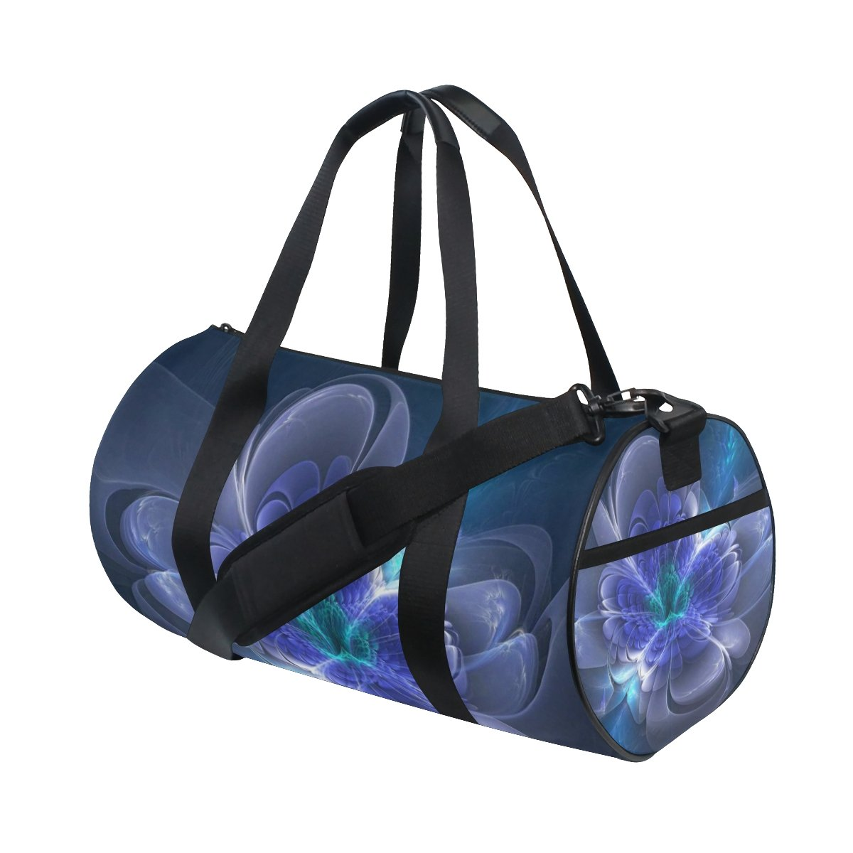 Flower Picture Blue Black Lightweight Canvas Sports Travel Duffel Yoga Gym Bags