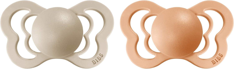 T/étine BIBS Couture lot de 2 Vanilla // Peach, taille 2 caoutchouc naturel /à partir de 6/mois t/étine danoise de forme anatomique 100//% sans bisph/énol A.