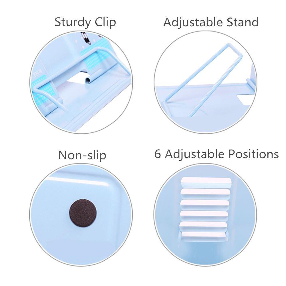 Reading Bookstand Book Holder, Kicpot Adjustable and Portable Reading Book Stand Document Holder (Iron Blue) by Kicpot (Image #4)