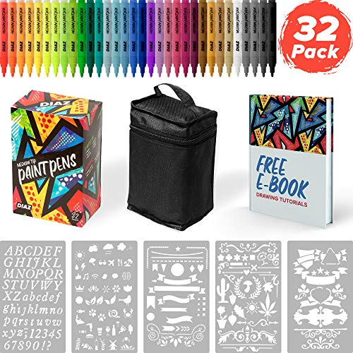 32 Acrylic Medium Tip Paint Pens for Rock Painting, Stone, Metal, Ceramic, Porcelain, Glass, Wood, Fabric, Canvas | Comes With FREE Stencils, Carry Case, E-Book