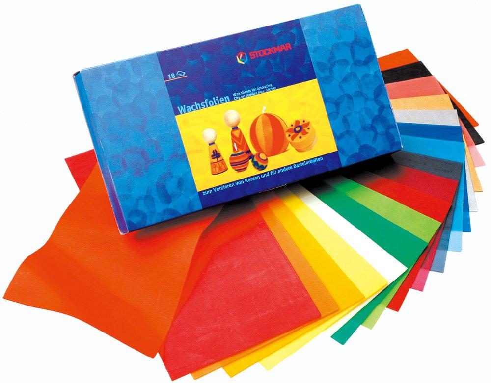 Stockmar - Fogli di pellicola cerata, 20 x 10 cm, 18 colori assortiti ST63300