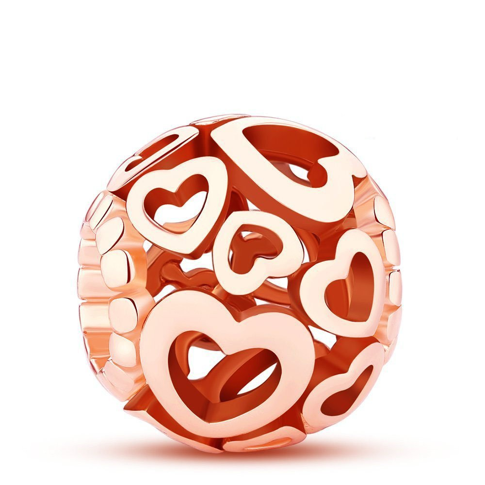 Glamulet Rose Gold Love Charms 925 Sterling Silver Heart Shape Openwork Beads Fits Pandora Bracelet, Ideal Jewelry Gifts