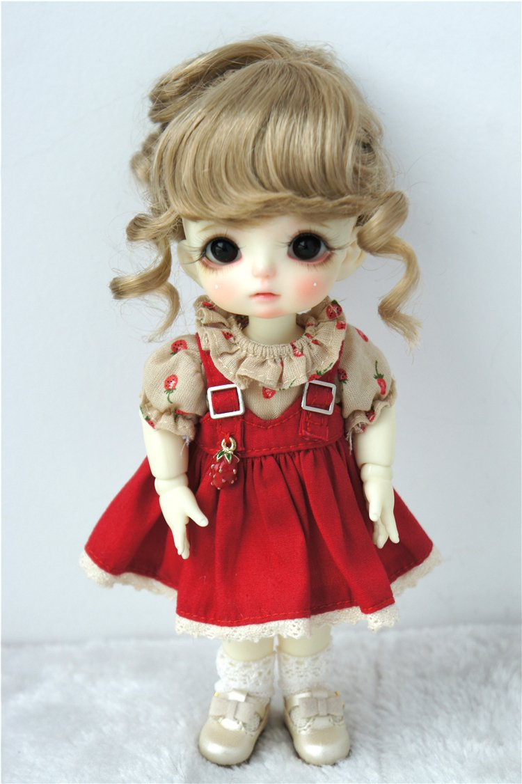 JD261 5-6inch 13-15cm 1/8 Wave Pony BJD Doll Wigs Synthetic Mohair Doll Hair (Brown)