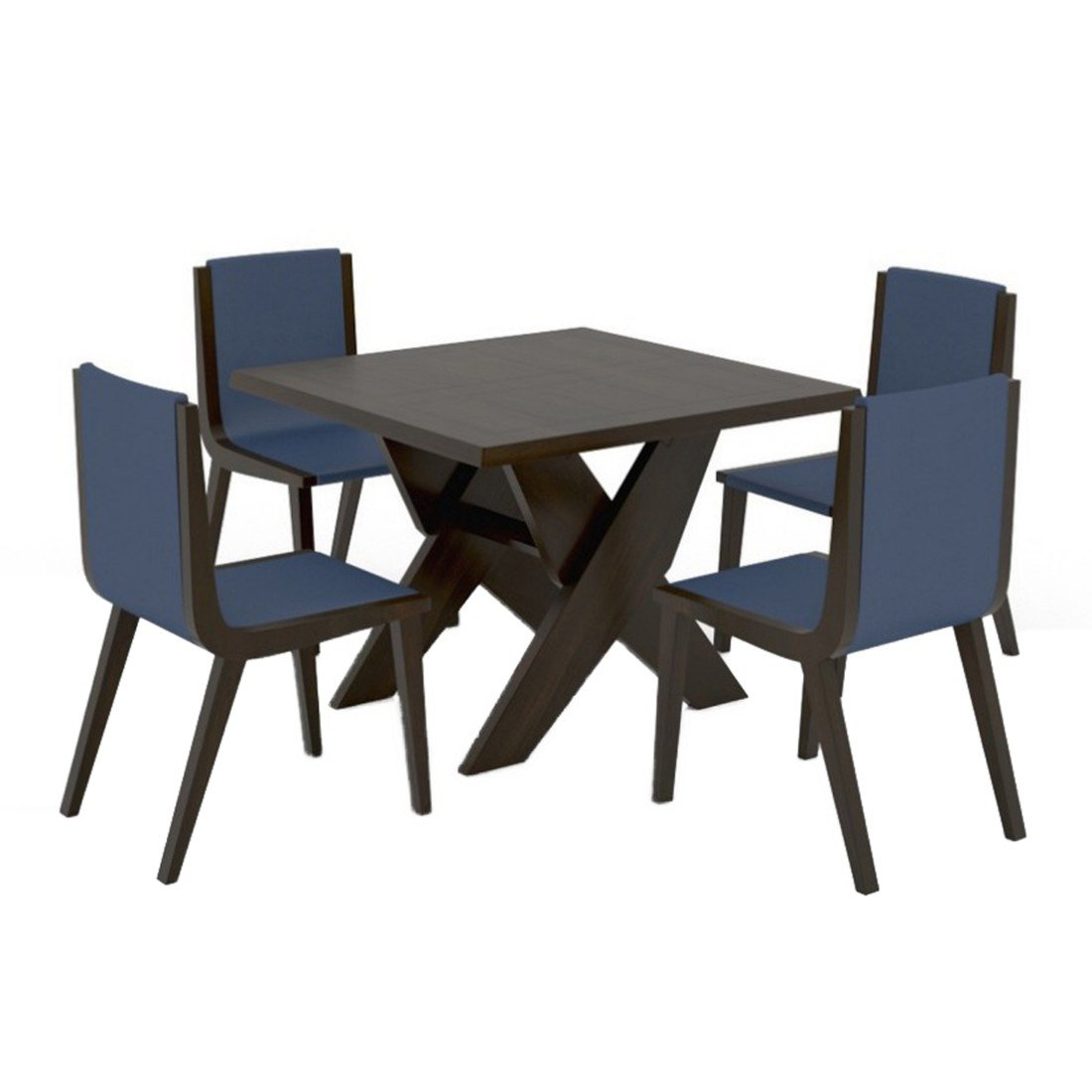 Funterior classy finish teak wood 4 seater leatherette dining table navy blue amazon in home kitchen