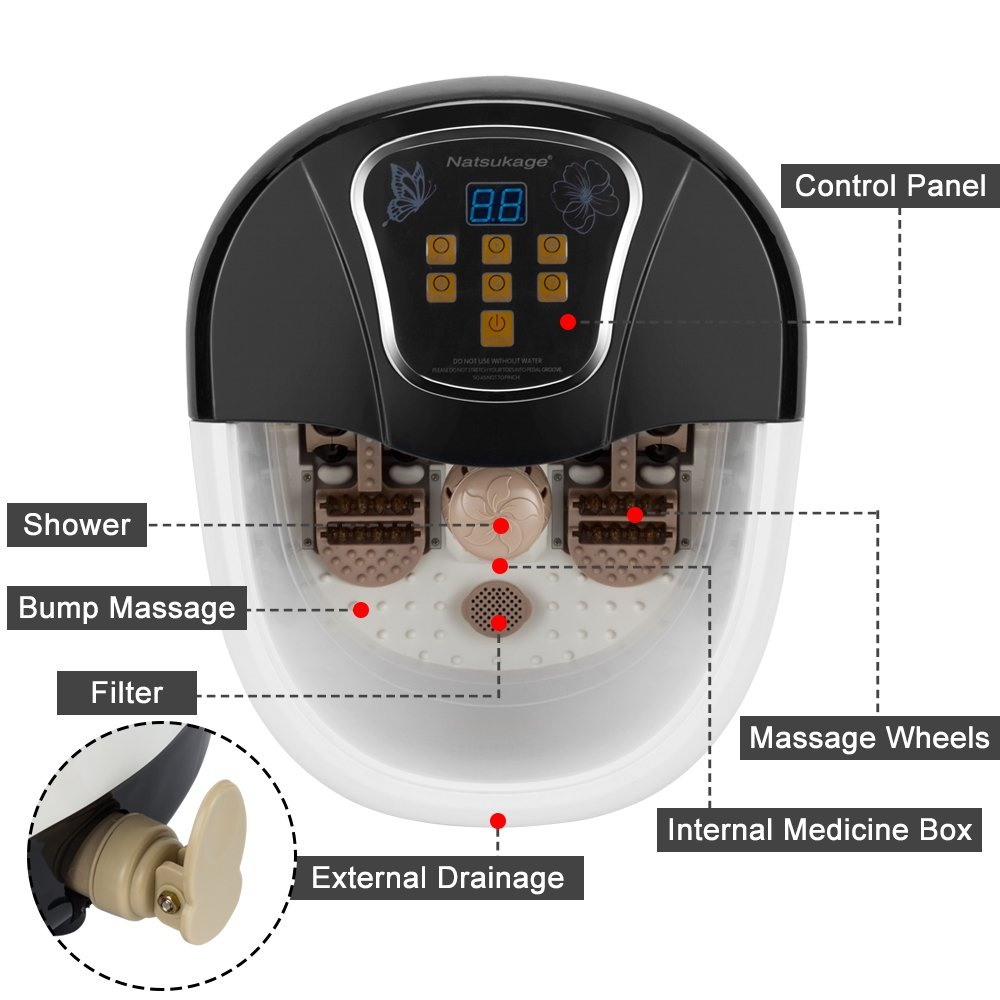 Natsukage All in One Luxurious Foot Spa Bath Massager Motorized Rolling Massage Heat Wave Digital Temperature Control LED Display Fast US Shipping (Type 5) by Natsukage (Image #4)