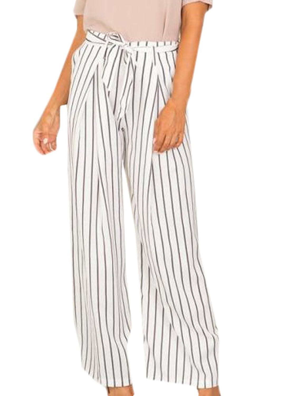 Yayu Women's Casual High Waist Wide Leg Long Stripe Pants