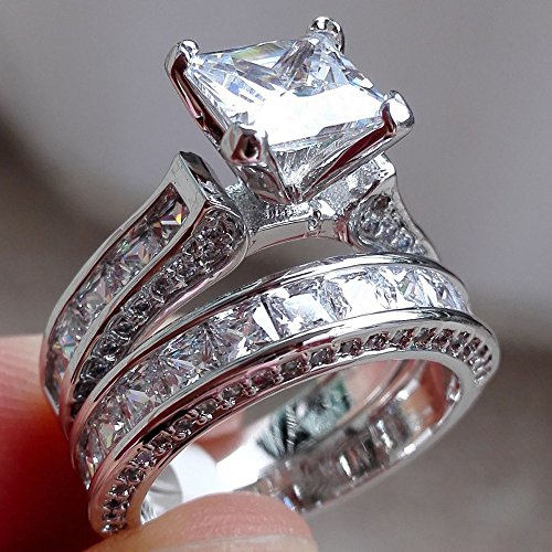 2 Pack Women Wedding Ring Set White Diamond Simple Silver Band Engagement Bride Gift Vintage 2-in-1 (Silver 10, Silver) (Diamond Set Invisible Bridal)