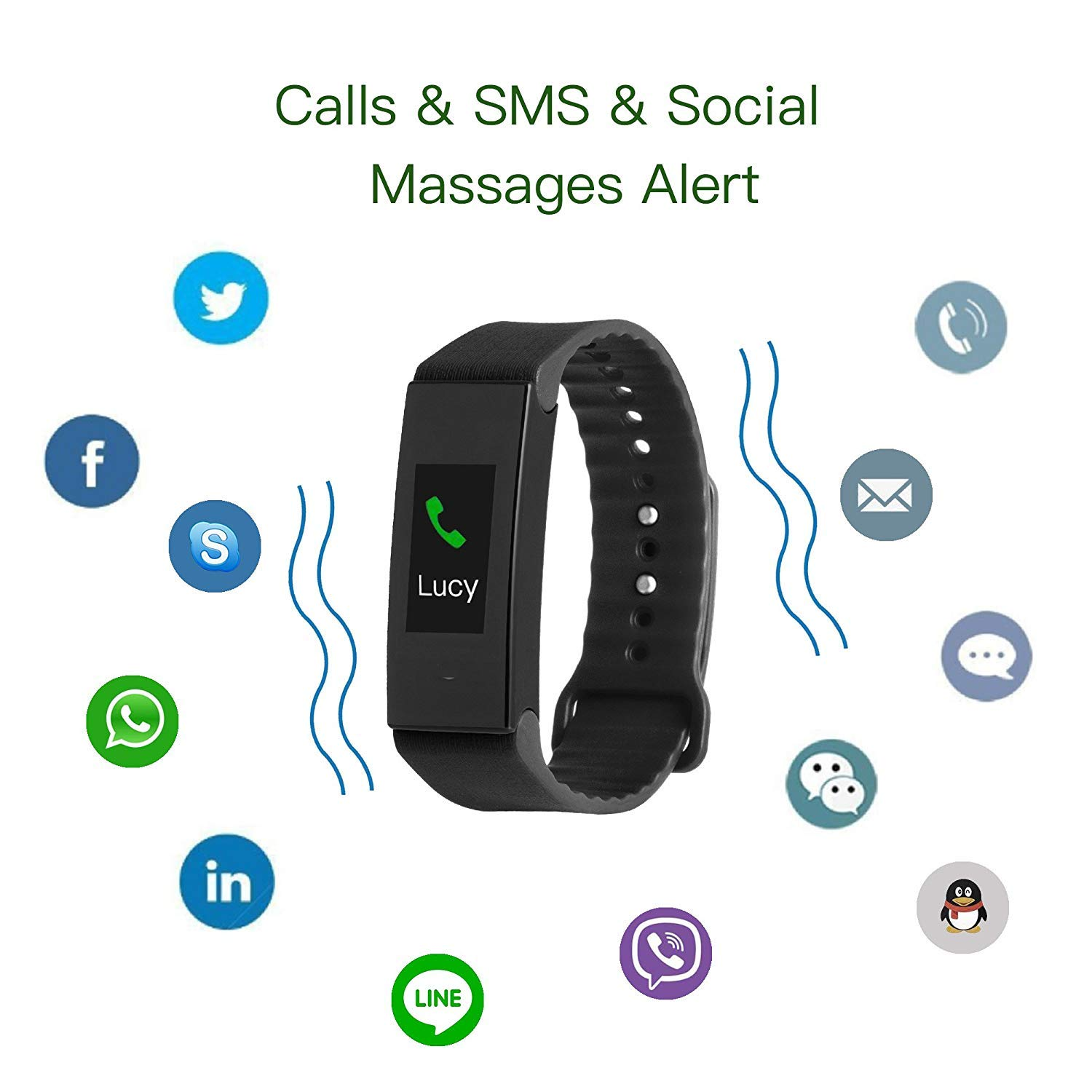 Cocofit Fitness Tracker, Activity Tracker with Heart Rate Monitor, Blood Pressure Monitor, Sleep Monitor, Waterproof Smart Band with Replaceable Band, Step Tracker, Calorie Tracker for Kids Women Men