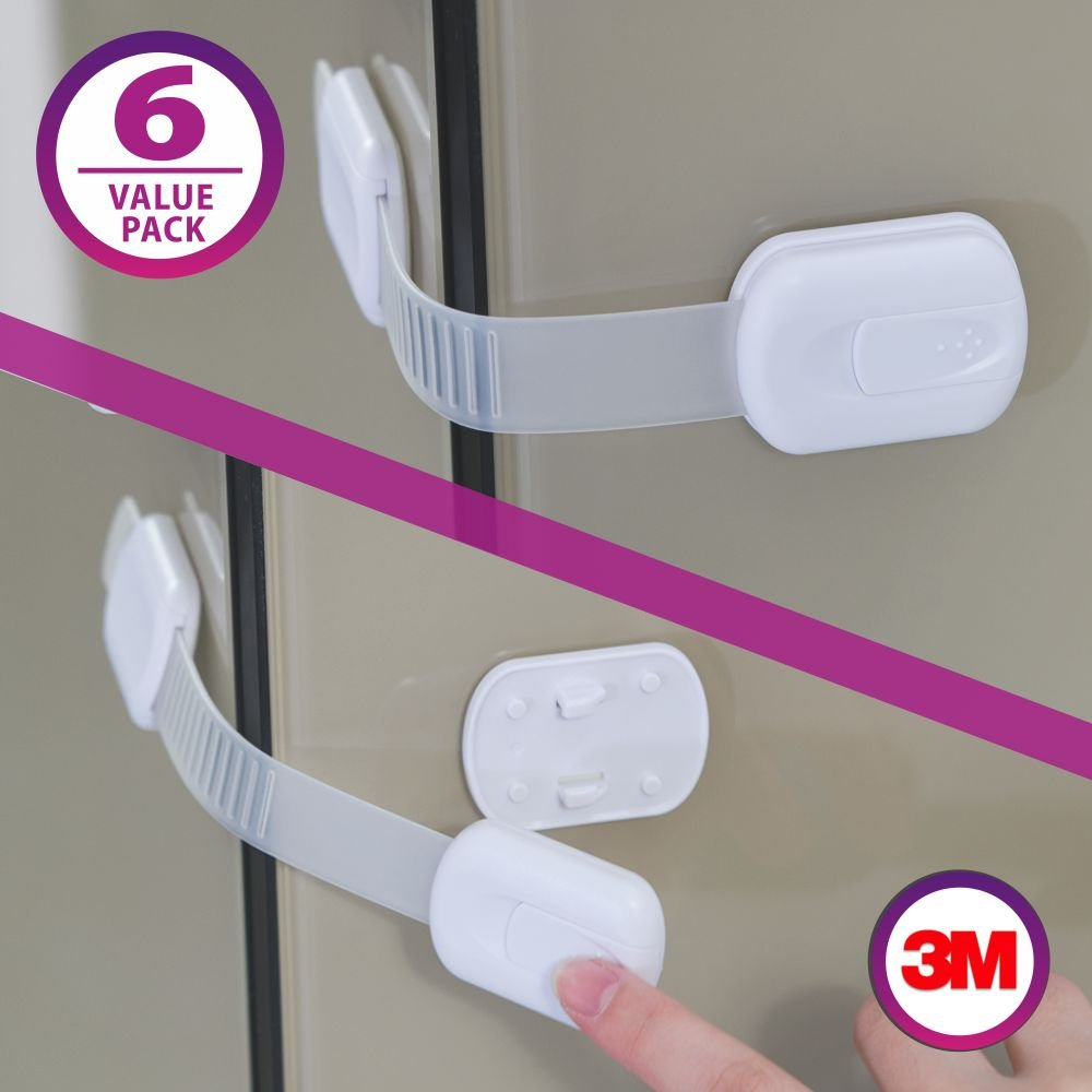 WINNPRIME Baby Safety Locks | Child Proof Cabinets, Drawers, Appliances, Toilet Seat, Fridge and Oven | Uses 3M Adhesive with Adjustable Strap and Latch System