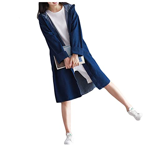Amazon.com: Solme Fashion Denim Jacket Long Hooded Loose Full Sleeve Spring Sutumn Jeans Jacket Women Denim Jackets Coats Harajuku Plus Size Xl Blue Xl: ...