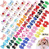 Comsmart 60Pcs Dog Bows, 30 Pairs Yorkie Dog Puppy Hair Bows with Rubber Bands & Rhinestone Pearls & Handmade Lace Fabric, Cute Pet Small Dog Hair Bowknot Topknot Grooming Accessories
