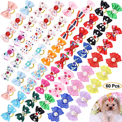 - Comsmart 60Pcs Dog Bows, 30 Pairs Yorkie Dog Puppy Hair Bows with Rubber Bands & Rhinestone Pearls & Handmade Lace Fabric, Cute Pet Small Dog Hair Bowknot Topknot Grooming Accessories
