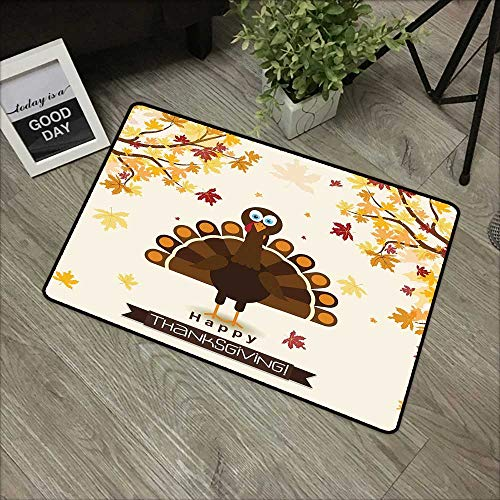 - Pool anti-slip door mat W35 x L59 INCH Turkey,Fall Season Illustration Festive Holiday Theme Abstract Autumn Celebration,Brown Orange Yellow Natural dye printing to protect your baby's skin Non-slip D