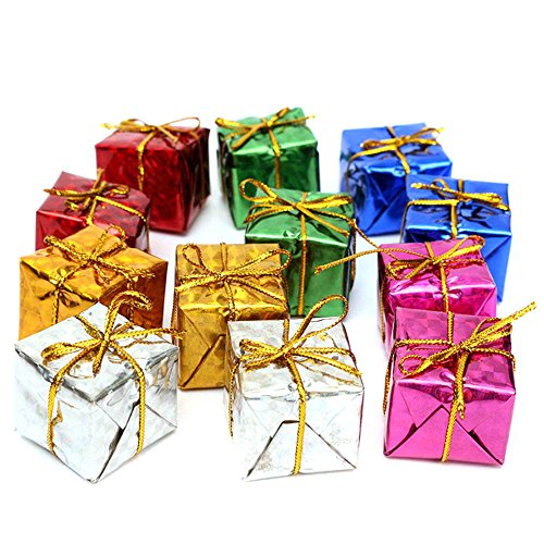 Fine Square Small Boxes, Mini Glistening Foam Gift Box Miniature Foil Paper Wrapped Miniature Boxes Ornaments for Christmas Tree Decorations (Multicolor) (Wrapped Gift Tv Christmas Show)