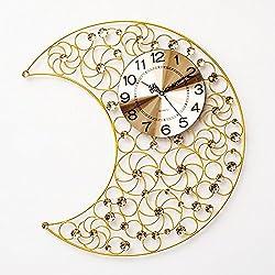 Wall Clocks Crescent Moon Crystal clock clock clock hanging iron room mute quartz clock, 60×55cm,4,with best service