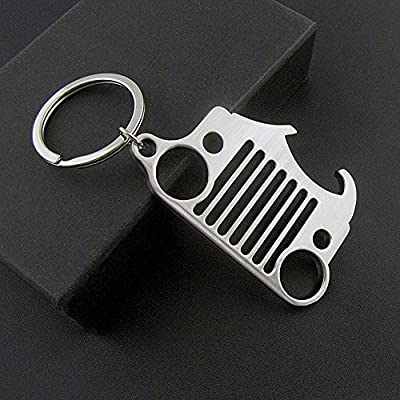 Jeep Grill Key Chain for Jeep Wrangler CJ,304 Stainless Steel (with Bottle Opener): Automotive
