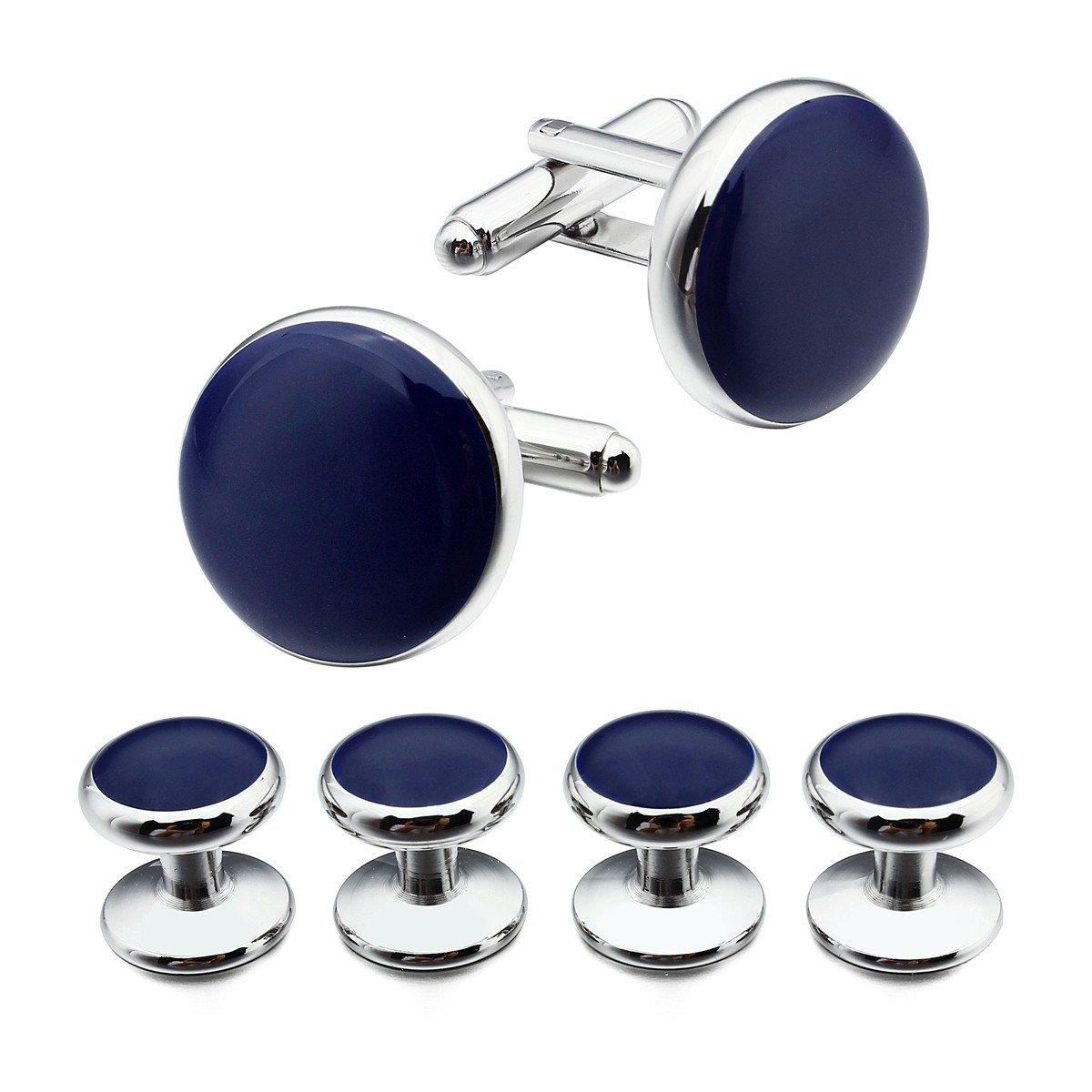 HAWSON Silver Blue Cufflinks and Tuxedo Studs Set for Mens Dress Shirt Business Wedding Accessories