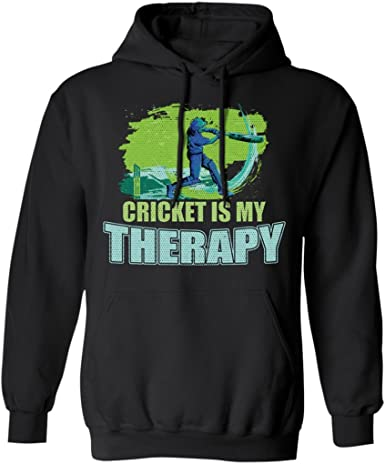 Cricket is My Therapy Cricket Player Fan Lovers Gift Funny Hoodie