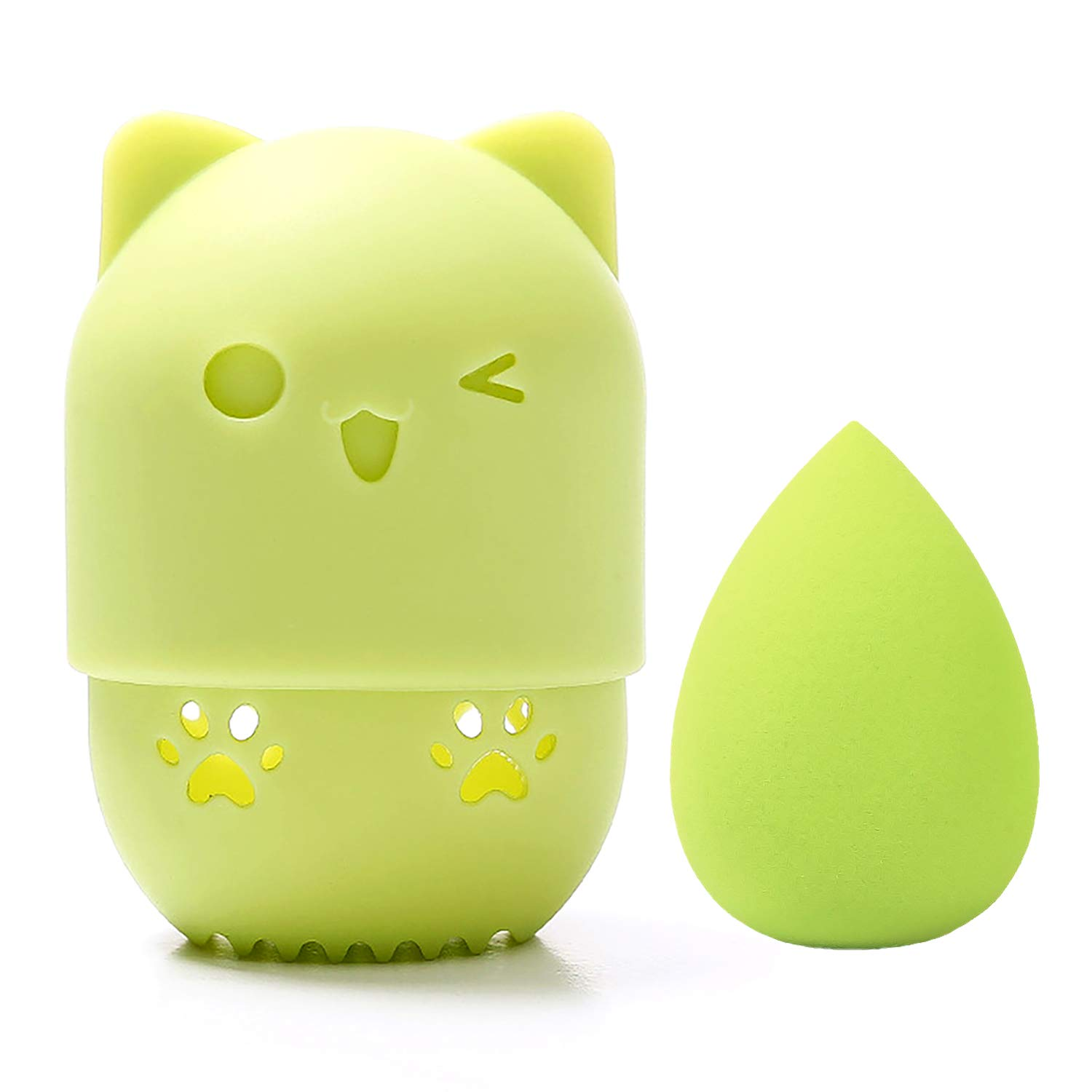 [Allure & Co.] Soft Makeup Sponge and Cute Cat Shaped Container Set - Travel Case for Beauty Blender (Green)