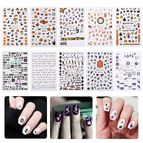 Set Manicure Personalized Precision (Christmas Nails Decals Stickers Set of 10 Sheets, KOBWA 3D Nail Art Tattoo, Nail DIY Decoration, Semitransparent, Includes Santa Claus/Snow Man/Garland/Bell/LOVE and More)