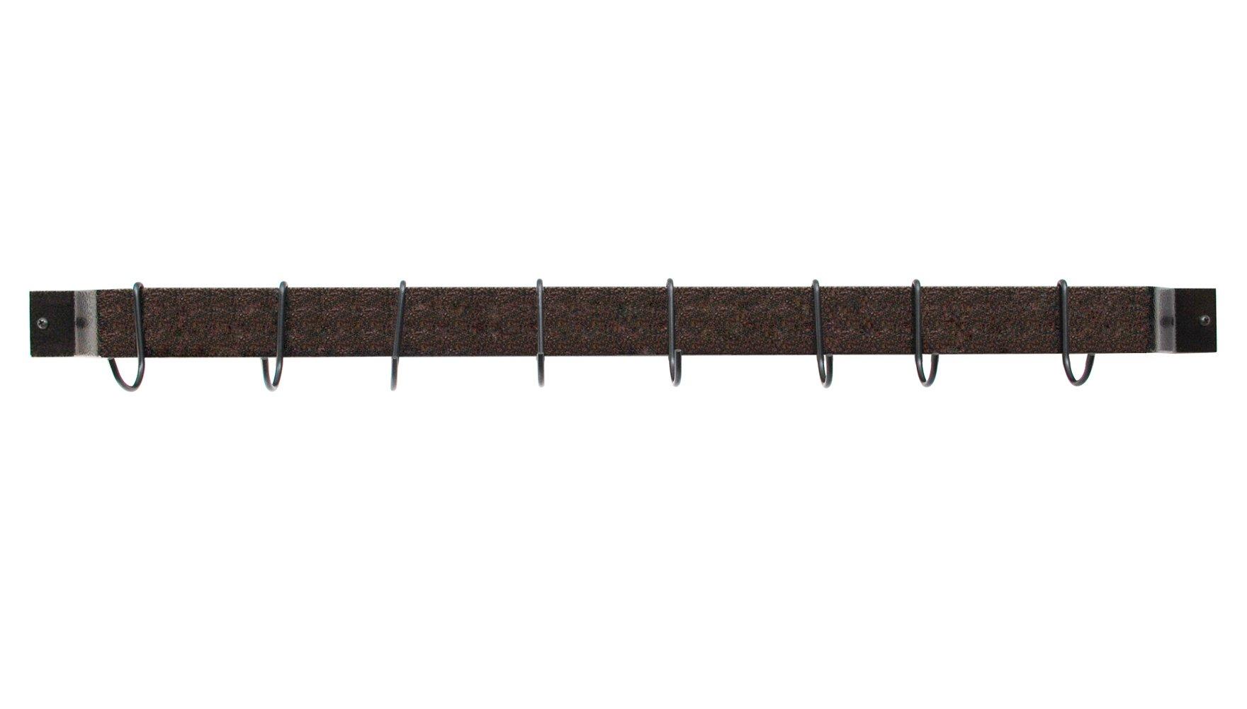Rogar 36'' Wall Mounted Bar Potrack in Hammmered Copper & Black