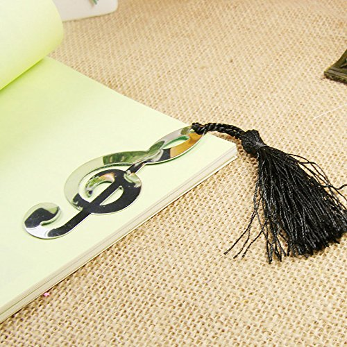 m·kvfa Romantic Music Note Alloy Bookmark Novelty Ducument Book Marker Label Stationery Lovely Music Note Page Markers Metal with Tassels Pendant Gifts Perfect for Gifts