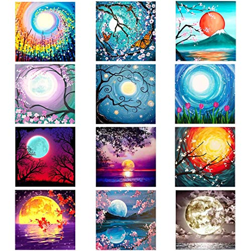 XPCARE 12 Pack 5d Diamond Painting Kits Round Full Drill Acrylic Embroidery Cross Stitch for Home Wall Decor Moon(Canvas 12X12In)