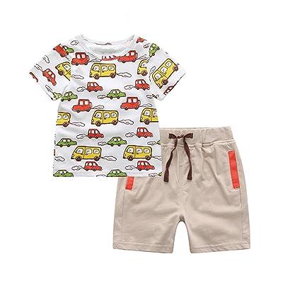 db0050125 daqinghjxg New Arrival Casual Baby Boys Clothing Set Cartoon Cars Printing T -Shirt Top+