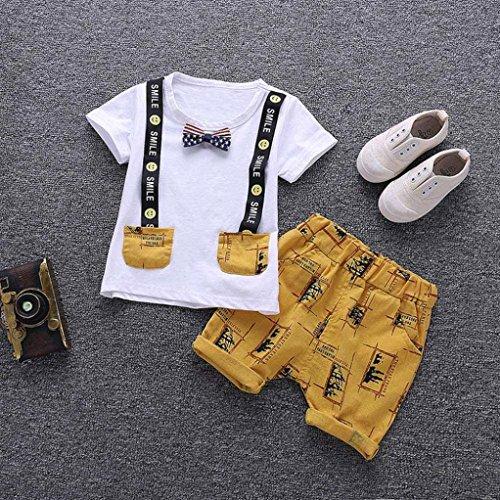 Omiky® Baby Kinder Jungen Brief Gedruckt Lächeln Tops + Hosen Outfits Kleidung 2 Stücke Set Weiß