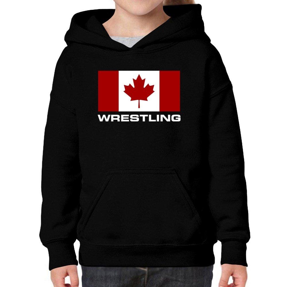 Teeburon Flag Canada Wrestling Girl Hoodie by Teeburon