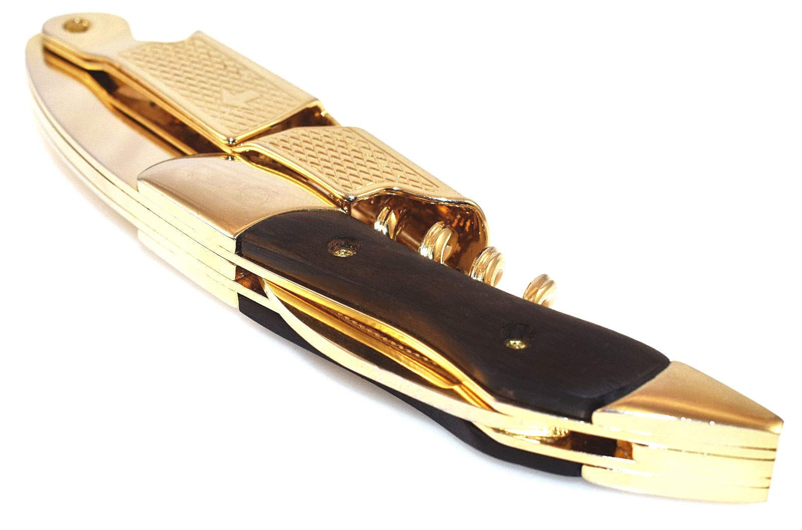 Gold & Black Corkscrew Wood Handle Professional Double Hinge Waiters Wine Key by Tipsy Wine Products