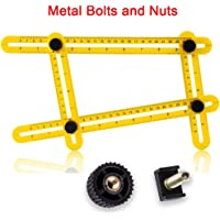VIDEN Yellow Multi Angle Measuring Ruler, Metal Bolts and Nuts, Angleizer Template Tool, Universal Angularizer, for Handymen, Builders, Craftsmen, Carpente
