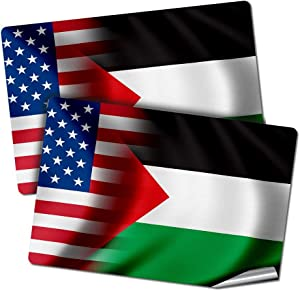 "ExpressItBest Two 2""x3"" Decals/Stickers with Flag of Palestine - Waves w USA Flag - Long Lasting Premium Quality"