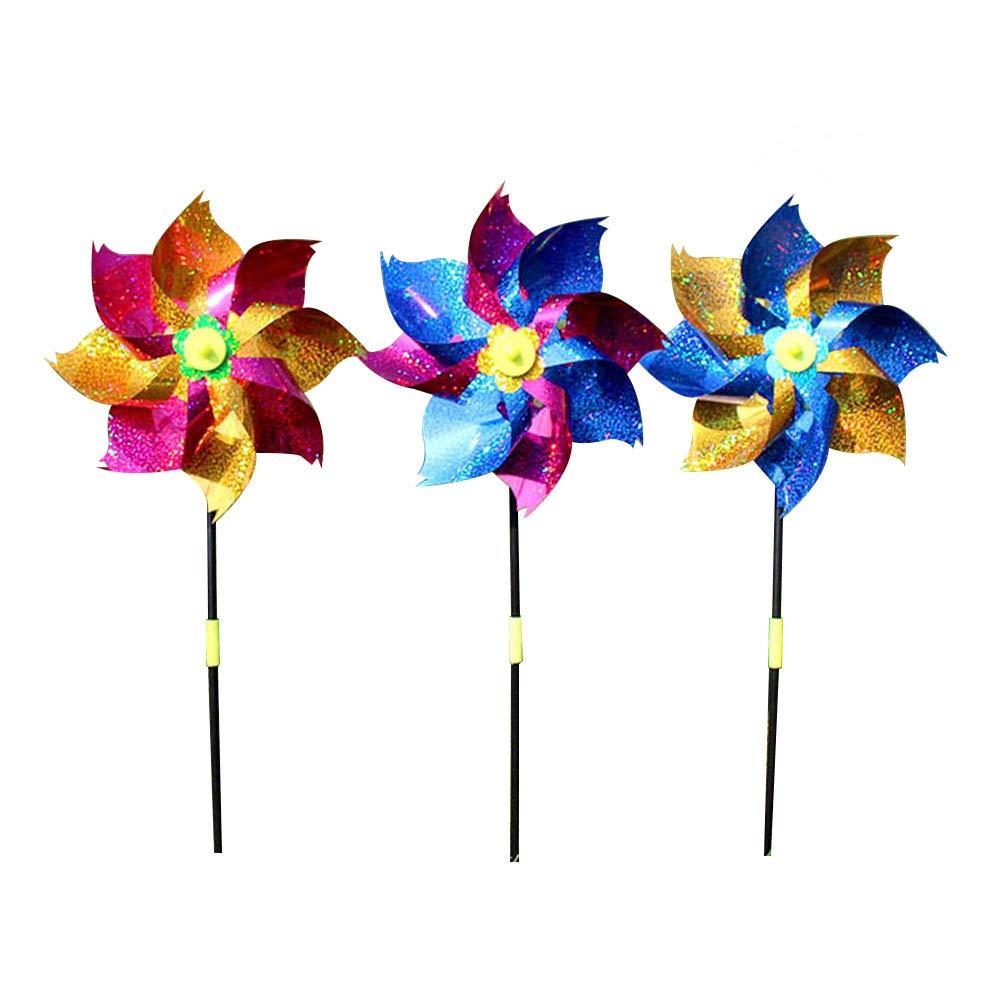 YeahiBaby 10 stü cke Bunte Glitter Kunststoff Windmü hle Windrad Wind Spinner Kinder Spielzeug Garten Rasen Party Decor (Zufä llige Farbe)