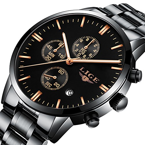 Mens Analog Quartz Watch Full Steel Sport Waterproof Watches Fashion Casual Luxury Business Wristwatch Black Gold