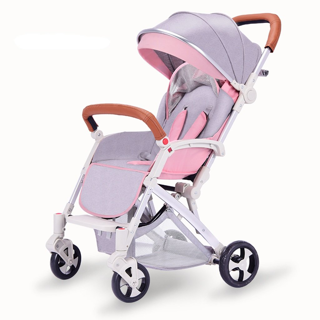 HAIZHEN マウンテンバイク ベビーカートは座る/軽い折り畳み可能な傘のトロリーを履くことができます四輪EVAの泡の衝撃吸収銀のアルミニウム合金サンシェード抗UV太陽の保護赤ん坊の運送 新生児 B07DL7GPDY ピンク ぴんく ピンク ぴんく