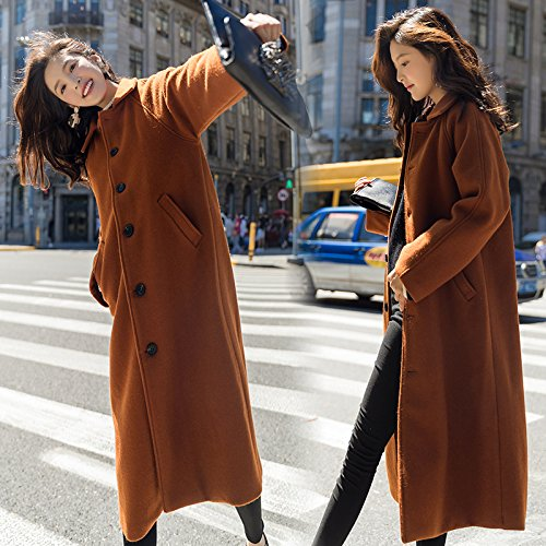 Thick And Wool Thin Knee Jacket Winter Xuanku Wanderers Long Colour caramel Coat Long Autumn Loose qRRwvY