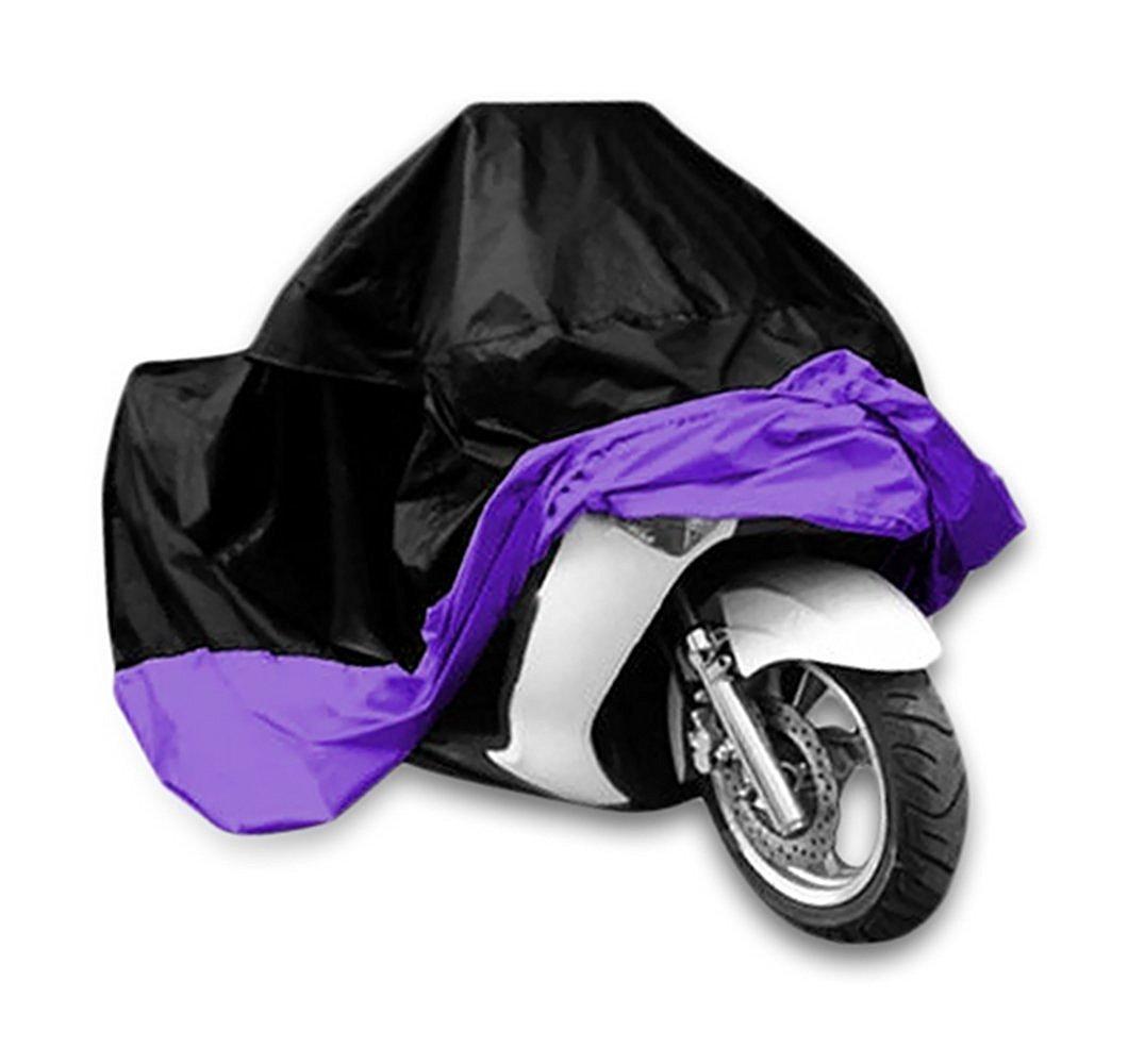 Universal Waterproof Dust Sun proof Indoor Outdoor Motorcycle Motorbike Cover for Harley Davison, Honda, Suzuki, Yamaha, Kawazaki Etc, Package Bag Include (Black/Purple, XL) Ohmotor