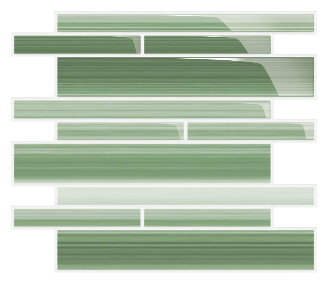 Jade Green Staggered Linear Glass Tile. Perfect for Kitchens Showers and bathrooms. by Bodesi - Mosaic and Glass Tile