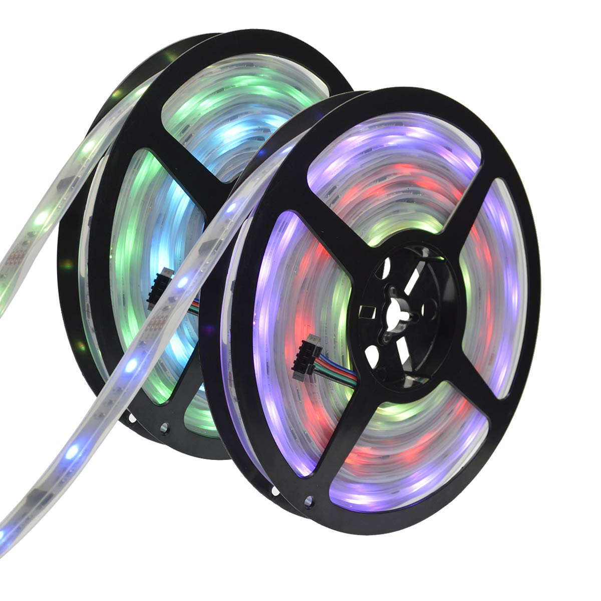 6803 IC RGB Magic Dream Color Multicolors LED Strip Lights Full Set ( Strip Lights + Remote Controller + Power Adapter ) Waterproof IP67 Tube Covered (10m/32ft)