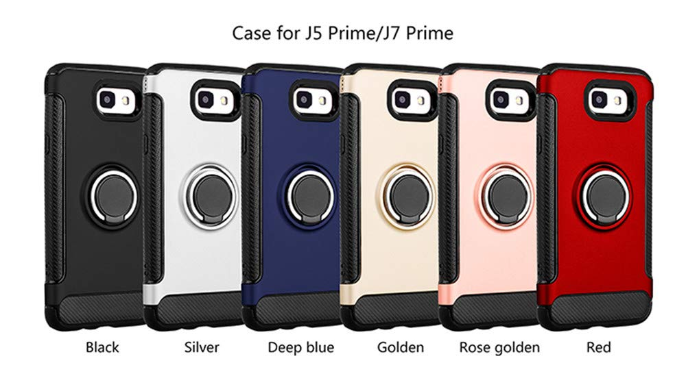 Cover for Samsung Galaxy J5 Prime Case, 2 in 1 360 Degree Ring StandDual Layer TPU Bumper Shockproof Support Magnetic Car Mount Holder Thin Case for Galaxy J7 Prime (1, Samsung Galaxy J7 Prime) by 22miter