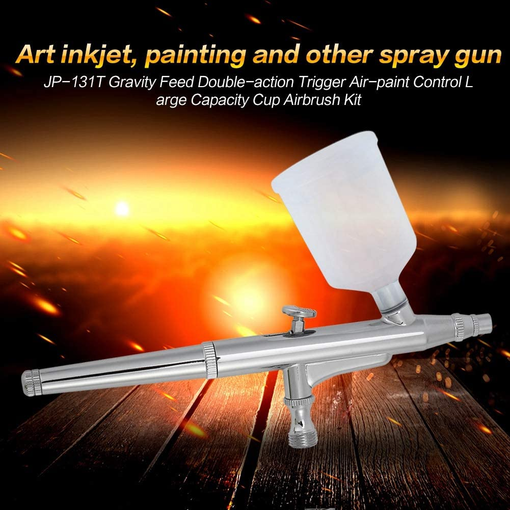 Gravity Feed Airbrush JP-131T Gravity Feed Double-Action Trigger Air-Paint Control Large Capacity Cup Airbrush Professional Kit