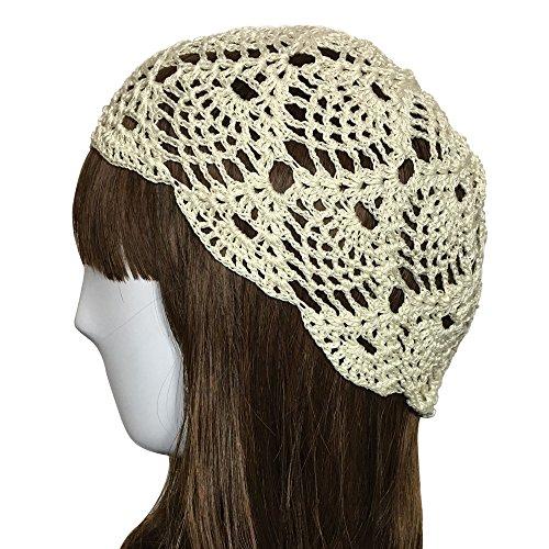ZORJAR 100% Handmade Linen Pineapple Design Crochet Knit Hat Cap for 3 Seasons (Off (Hand Crochet Beanie Hat)