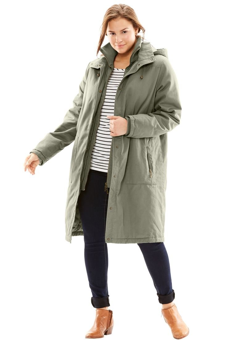 Woman Within Women's Plus Size Jacket, Stadium Style In Twill Olive Grey,3X
