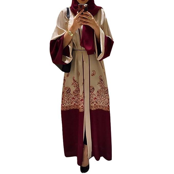 f266e87ad8 ... Impresión Dubai Rojo Suelto Túnica Islámico De Las Mujeres Cárdigan Largo  Musulmanes Medio Este árabe Turquía Vestidos  Amazon.es  Ropa y accesorios